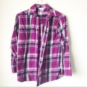 🌸 Old Navy   Purple plaid boyfriend flannel